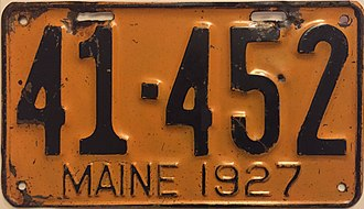 Vehicle registration plates of Maine - Image: 1927 Maine license plate
