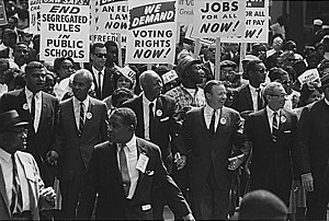 African-American Civil Rights Movement (1954–1968) - The March on Washington participants and leaders marching from the Washington Monument to the Lincoln Memorial