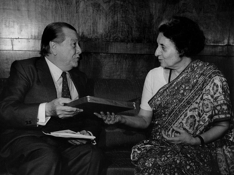 File:1982. Abril, 26. Visita a la Primera Ministra Indira Gandhi de la India, en calidad de Presidente de la Unión Interparlamentaria Mundial.jpg