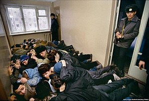 1992 year. Detained bandits from the Uralmash group lie before the interrogation.jpg