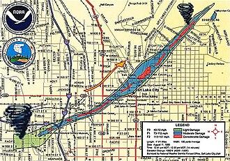 1999 Salt Lake City tornado - Map of tornado's path