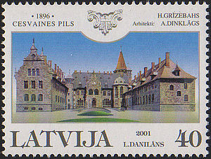 Cesvaine Palace - Image of Cesvaine Palace on Postage Stamp