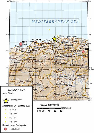 2003 Boumerdès earthquake - Map of the affected area