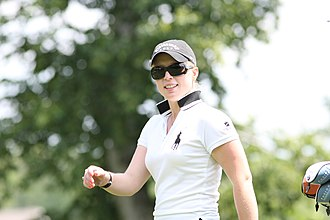 Upturned collar - Morgan Pressel, youngest winner at the LPGA, with collar up.
