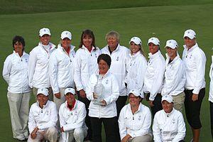 2009 Solheim Cup - Clockwise from upper left: Morley, Alfredsson, Pettersen, Gustafson, Davies, Luna, Hjorth, Moodie, Nordqvist, Nocera, Brewerton, Nicholas, Elosegui, Matthew.