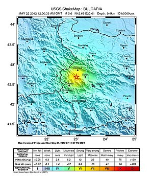2012 Pernik earthquake - USGS shakemap for the event