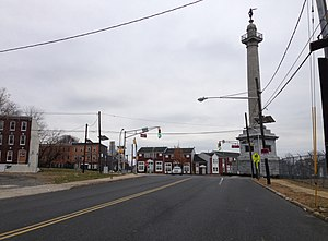Battle Monument, Trenton, New Jersey - The Five Points intersection and Trenton Battle Monument