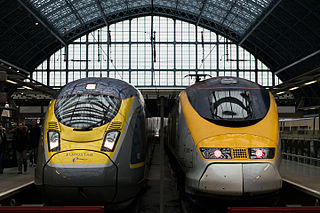 high-speed railway service connecting London with Paris and Brussels
