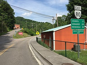 Virginia State Route 80 - View east along SR 80 in Haysi