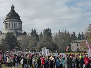 Women's March on Seattle - Image: 2017 Women's March at Olympia