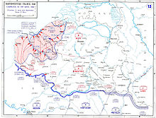 A map of northern France depicting the Anglo-French and German lines.