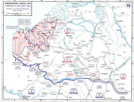 The situation on 4 June. Belgian, British, and French forces have been encircled near Dunkirk, while the remaining French armies take up positions to defend Paris. 21May-4June1940-Fall Gelb.jpg