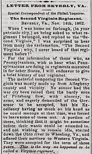 2nd West Virginia Volunteer Infantry Regiment - Article in the Wheeling Daily Intelligencer, November 24, 1862, describing how the regiment came to be formed