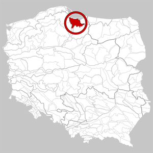 Żuławy Wiślane - Location on the map of geographical regions of Poland