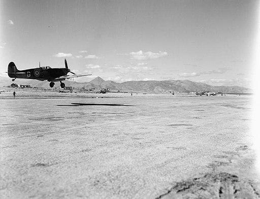 335 (Hellenic) Squadron RAF Spitfire lands at Heraklion WWII IWM CNA 3472