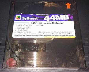 """SyQuest Technology - SyQuest 44 MB - 5.25"""" removable hard disk. Dimensions are 131.38mm x 131.38mm x12.85mm high."""