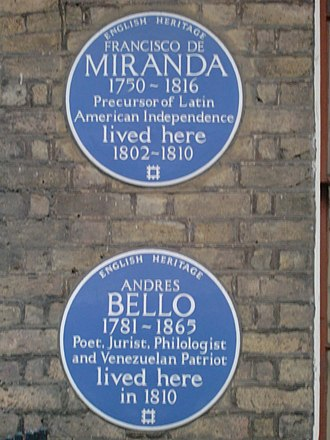 Andrés Bello - Blue plaque commemorating Bello on 58 Grafton Way, London