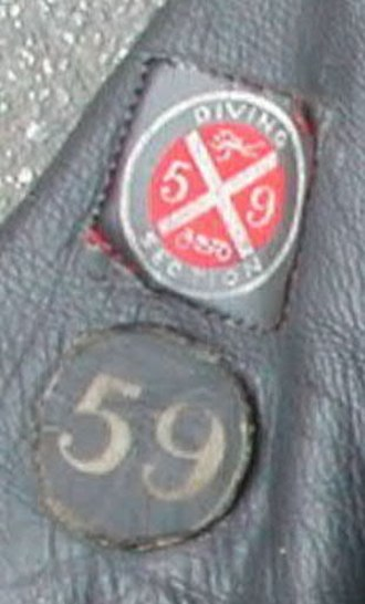 59 Club - Diving Section badge attached to a Lewis Leathers Super Bronx jacket sleeve