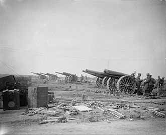 1st Fife Artillery Volunteers - A battery of 60-pounders deployed during the Battle of Arras, 1917.