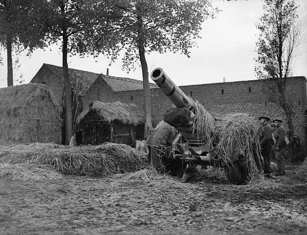 A British 8-inch howitzer near the German border during the Phoney War 8inchHowitzerCamouflagedLaquielle20October1939.jpg