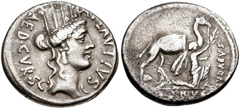 A. Plautius. 55 BC. AR Denarius (CNG 303407)