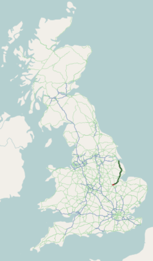 A16 road (England) - Image: A16 road map