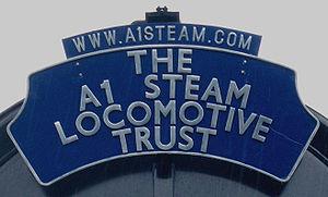 A1 Steam Locomotive Trust - The trust's headboard on Tornado