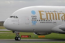 Il logo di candidatura di Expo 2020 su un Airbus A380 della Emirates