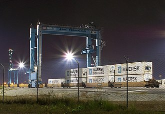 Intermodal freight transport - Intermodal ship-to-rail transfer of containerized cargos at APM Terminals in Portsmouth, Virginia.
