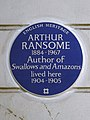 ARTHUR RANSOME 1884–1967 Author of Swallows and Amazons lived here 1904–1905.jpg