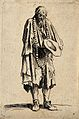 A bearded one-armed beggar in ragged clothes wearing a large Wellcome V0020323EL.jpg