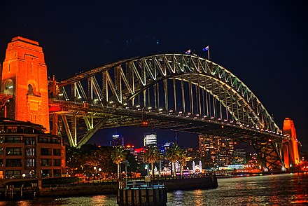 A close view of Sydney Harbour Bridge at night A close view of Sydney Harbour Bridge at night.jpg