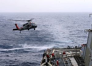 2014 in aviation - Mediterranean Sea (16 March 2014) An MH-60S Sea Hawk helicopter assigned to Helicopter Sea Combat Squadron (HSC) 9 prepares to land on the flight deck of the guided-missile destroyer USS Ramage (DDG 61). Ramage is on a scheduled deployment supporting maritime security operations and theater security cooperation efforts in the U.S. 6th Fleet area of operations. (U.S. Navy photo by Mass Communication Specialist 2nd Class Jared King/Released) 140316-N-CH661-111