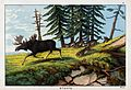 A pack of wolves chasing a moose. Coloured lithograph. Wellcome V0022838.jpg