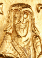 Abdul Malik ibn Marwan depicted on Gold Dinar.png