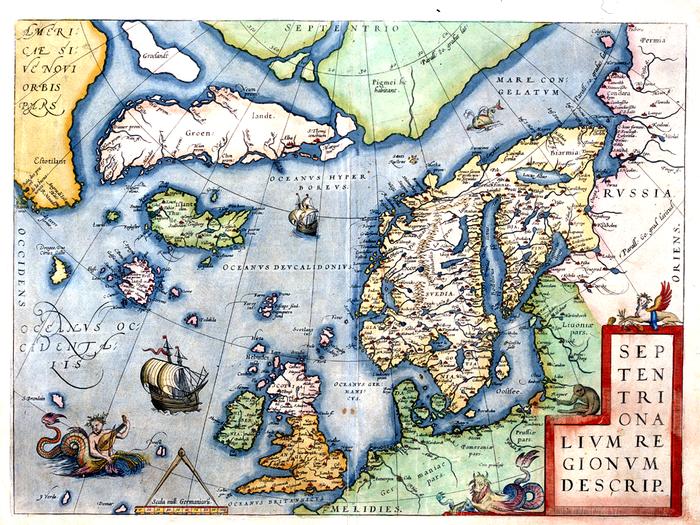 Kart over Nordatlanteren med Frisland. 1573 Abraham Ortelius (1527-1598). Commons.