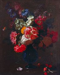 Flowers in a Vase on a Ledge
