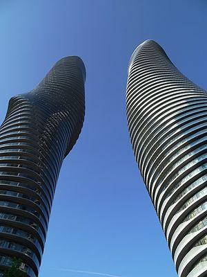 Absolute World - Undulating shape of towers as seen from below