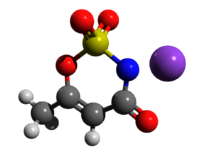 Ball-and-stick model of acesulfame potassium