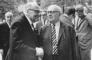 Frankfurt School - Max Horkheimer (front left), Theodor Adorno (front right), and Jürgen Habermas in the background, right, in 1965 at Heidelberg.