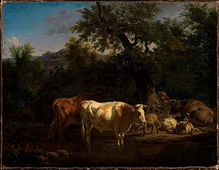 Forest landscape with resting cows and sheep