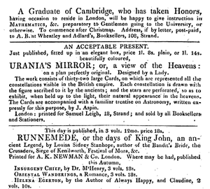 "Advertisement for Urania's Mirror from December 1824, suggesting it would make an ""acceptable"" Christmas present.[1][7]"