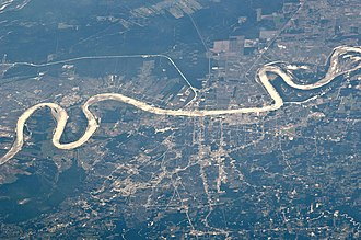 Baton Rouge, Louisiana - Baton Rouge as viewed from the International Space Station in May 2011, looking west