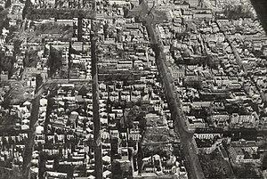 Bombing of Darmstadt in World War II - Aerial photograph of the western part of Darmstadt (Poststrike)