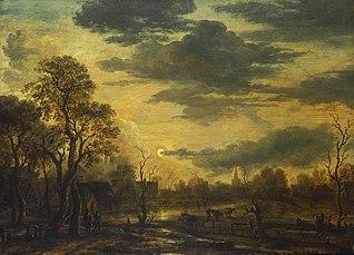 A Village at Moonlight