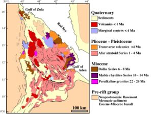 Afar Triangle - A simplified geologic map of the Afar Depression.