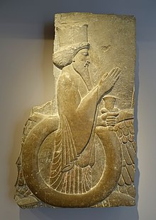 Ahuramazda in the winged disk, from the Hall of 100 Columns, Persepolis, Achaemenid Persia, 486-460 BC, limestone, traces of paint - Sackler Museum - Harvard University - DSC01735.jpg