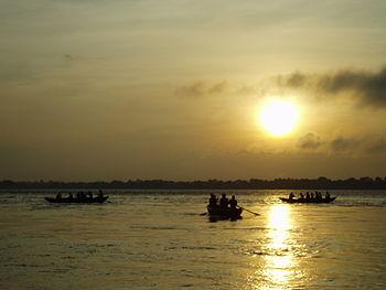Dawn on the river Ganges, Varanasi (India).