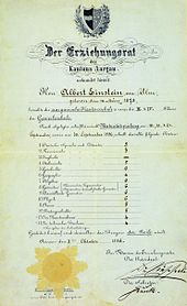 "Einstein's matriculation certificate at the age of 17. The heading reads ""The Education Committee of the Canton of Aargau"". His scores were German 5, French 3, Italian 5, History 6, Geography 4, Algebra 6, Geometry 6, Descriptive Geometry 6, Physics 6, Chemistry 5, Natural History 5, Art Drawing 4, Technical Drawing 4, the scores are 6 = excellent, 5 = good, 4 = sufficient, 3 = poor, 2 = very poor, 1 = unusable."
