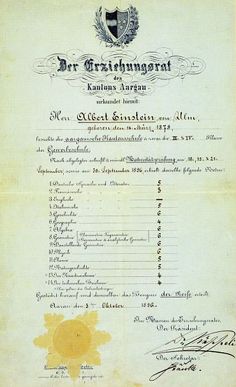 Einstein's matriculation certificate at the age of 17, showing his final grades from the Argovian cantonal school (Alte Kantonsschule Aarau, on a scale of 1-6, with 6 being the highest possible mark). He scored: German 5; French 3; Italian 5; History 6; Geography 4; Algebra 6; Geometry 6; Descriptive Geometry 6; Physics 6; Chemistry 5; Natural History 5; Art and Technical Drawing 4. Albert Einstein's exam of maturity grades (color2).jpg